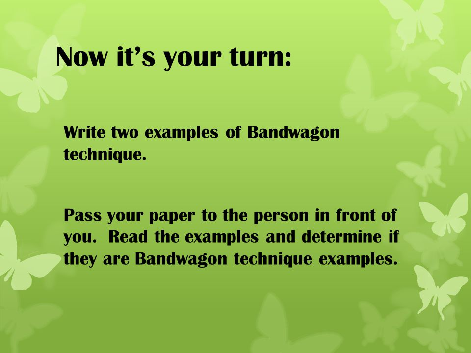 Now it's your turn: