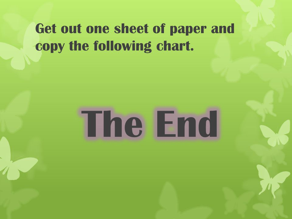 Get out one sheet of paper and copy the following chart.