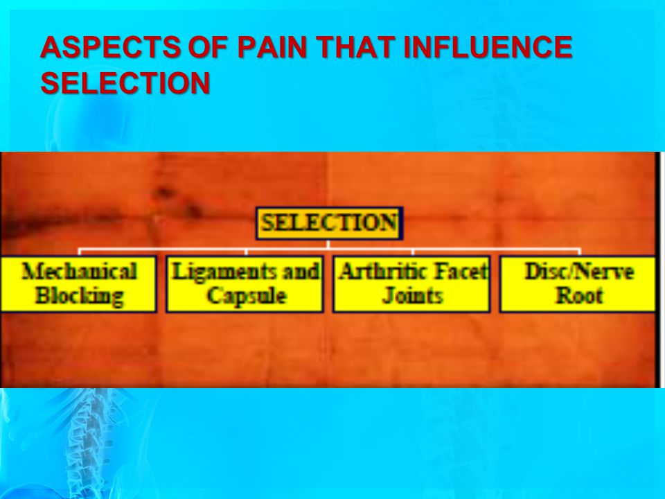 ASPECTS OF PAIN THAT INFLUENCE SELECTION