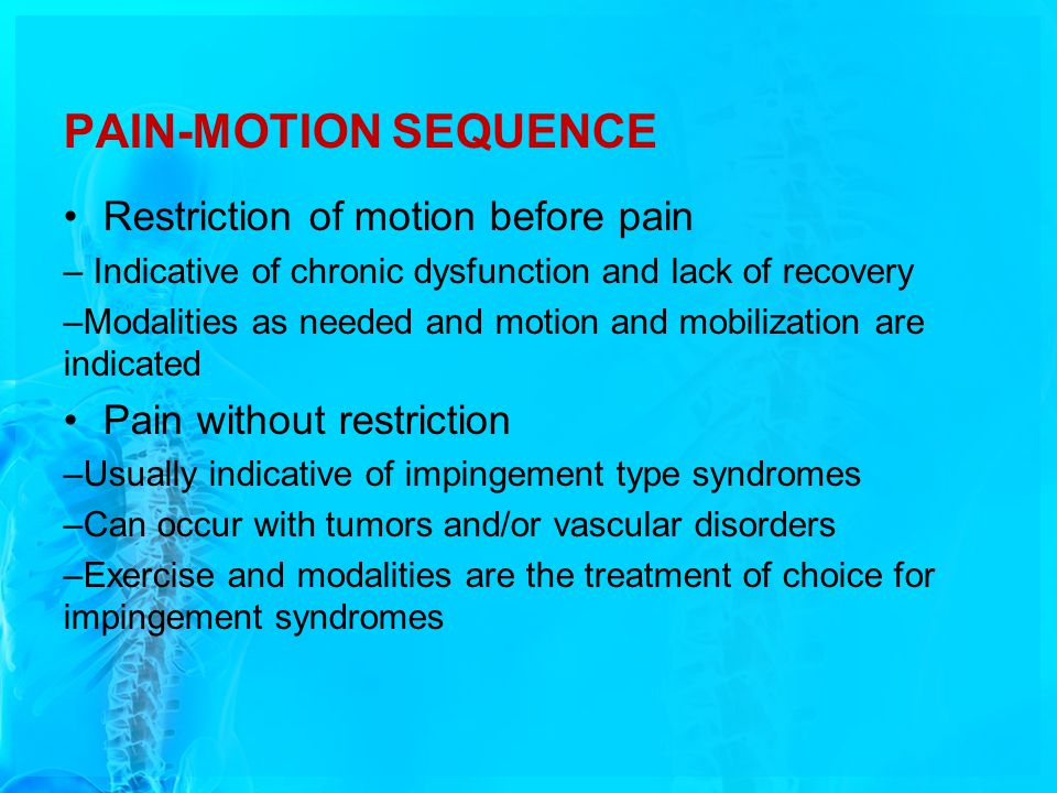 PAIN-MOTION SEQUENCE Restriction of motion before pain