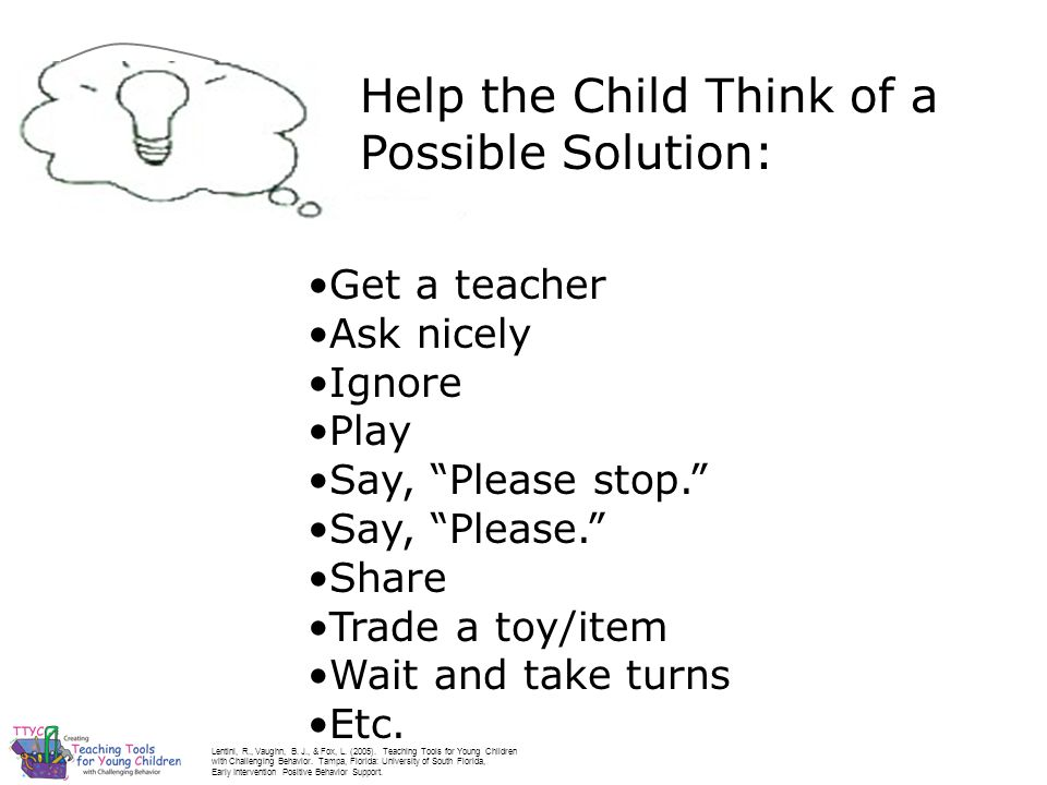 Help the Child Think of a Possible Solution: