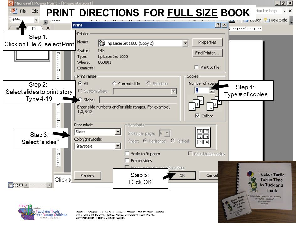 PRINT DIRECTIONS FOR FULL SIZE BOOK