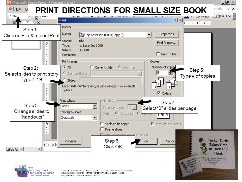 PRINT DIRECTIONS FOR SMALL SIZE BOOK