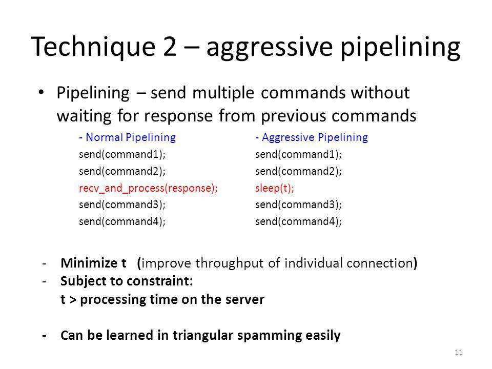 Technique 2 – aggressive pipelining