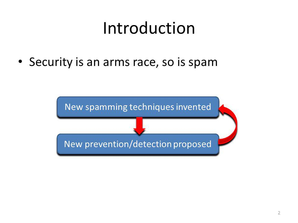 Introduction Security is an arms race, so is spam