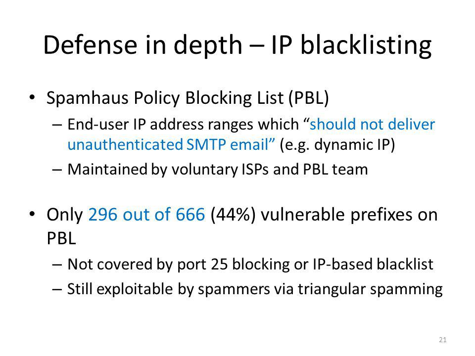 Defense in depth – IP blacklisting