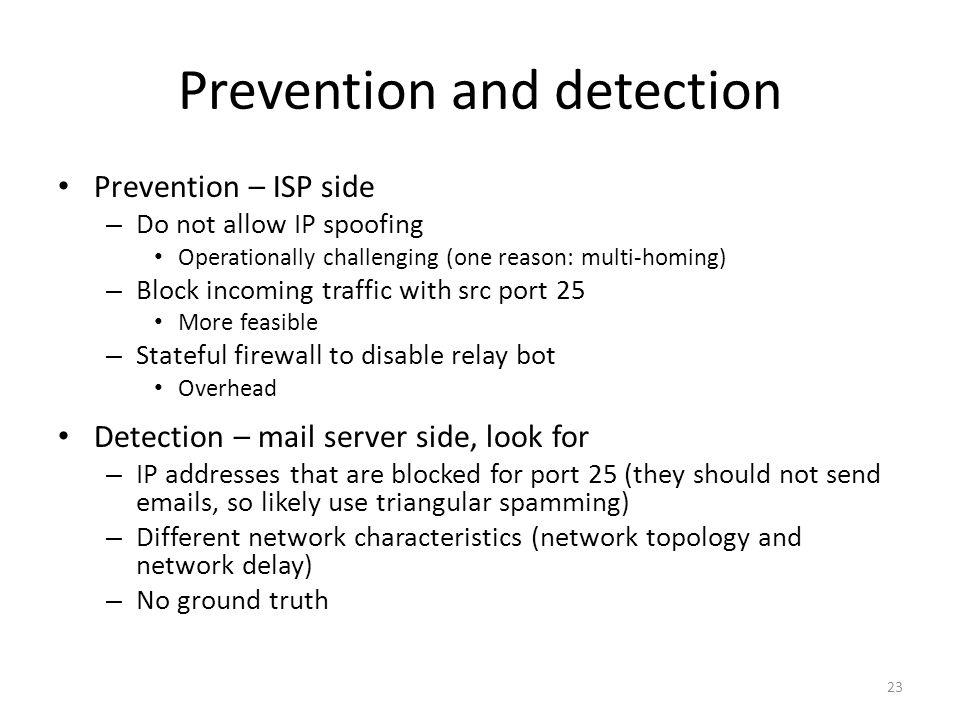 Prevention and detection