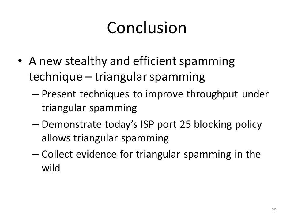 Conclusion A new stealthy and efficient spamming technique – triangular spamming. Present techniques to improve throughput under triangular spamming.