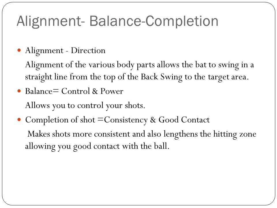 Alignment- Balance-Completion