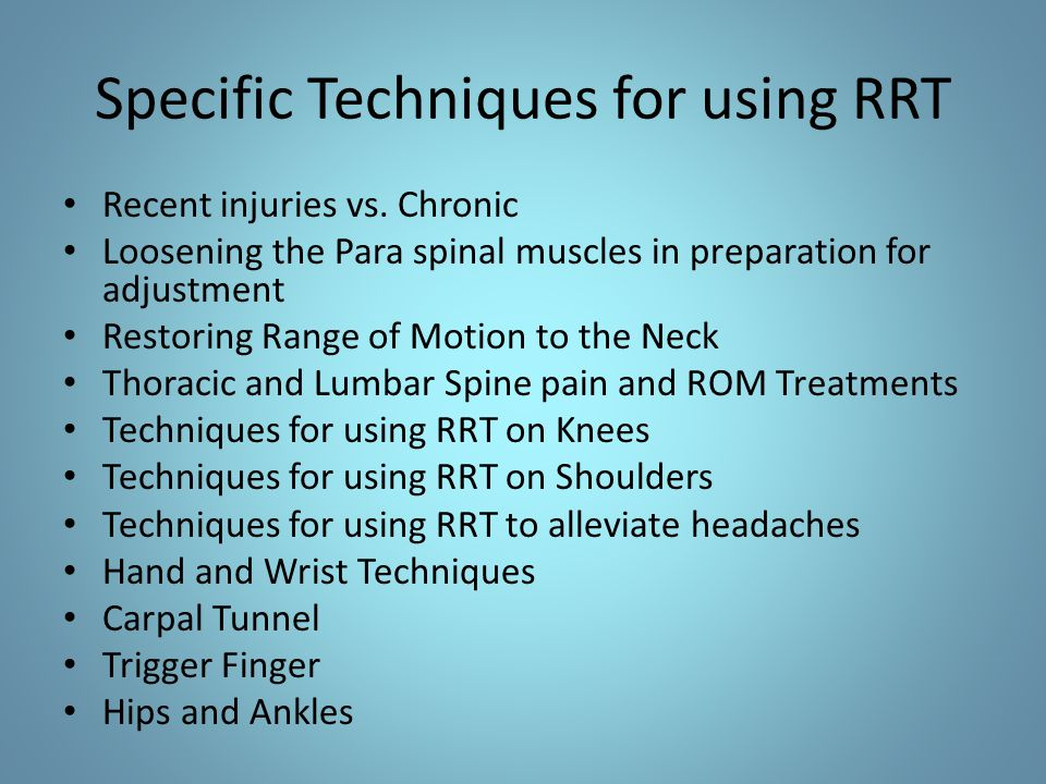 Specific Techniques for using RRT