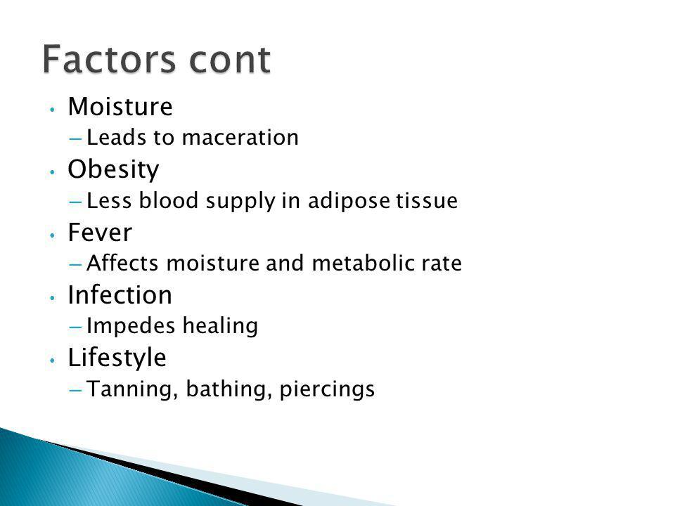 Factors cont Moisture Obesity Fever Infection Lifestyle
