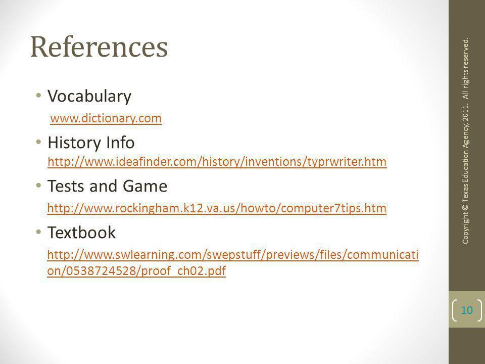 References Vocabulary