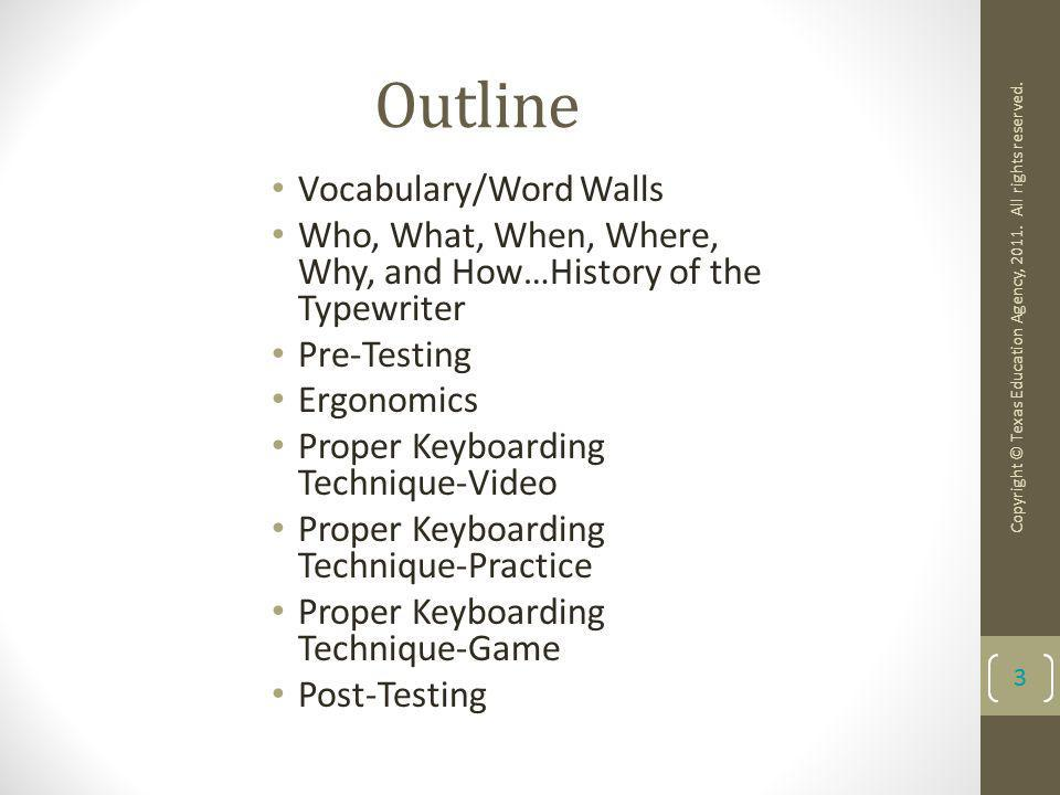 Outline Vocabulary/Word Walls