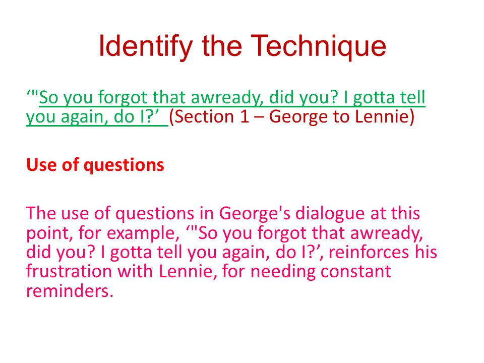 Identify the Technique