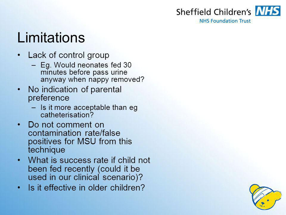 Limitations Lack of control group No indication of parental preference