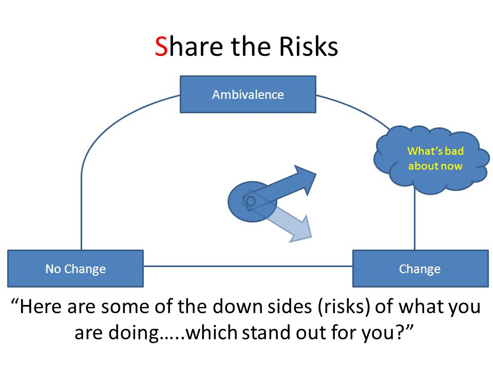 Share the Risks No Change Change Ambivalence What's bad about now