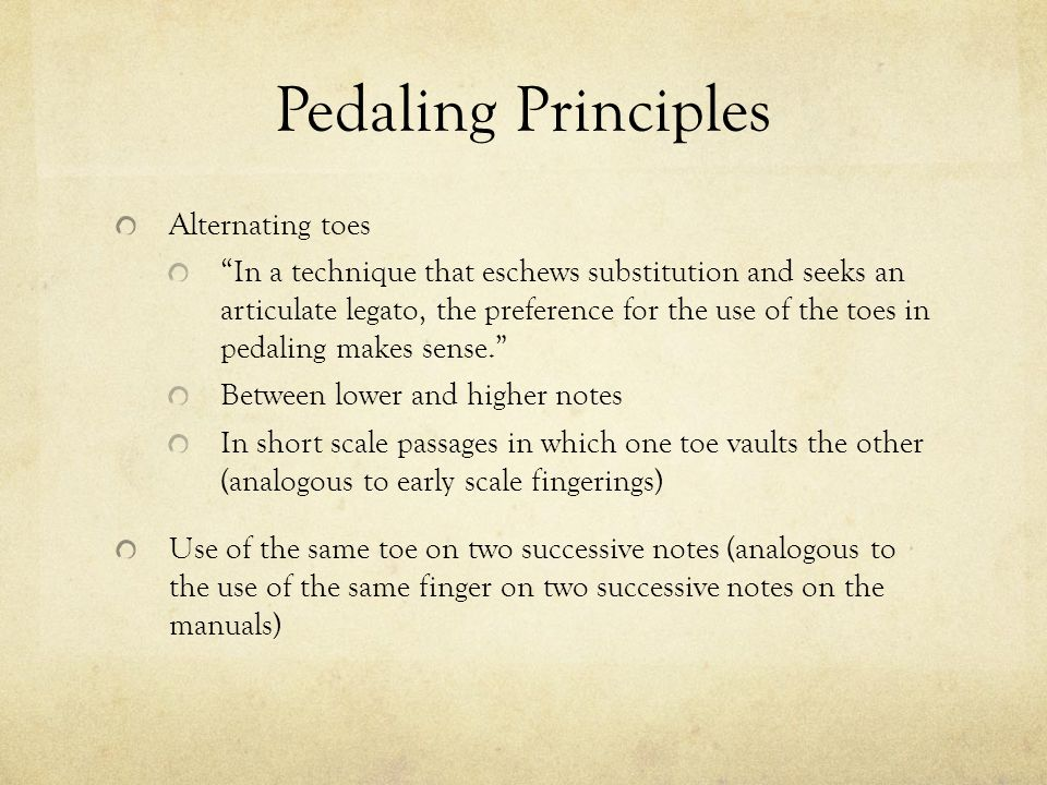 Pedaling Principles Alternating toes