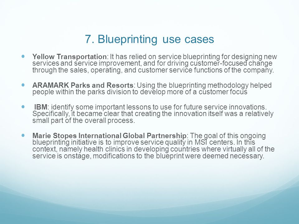 7. Blueprinting use cases