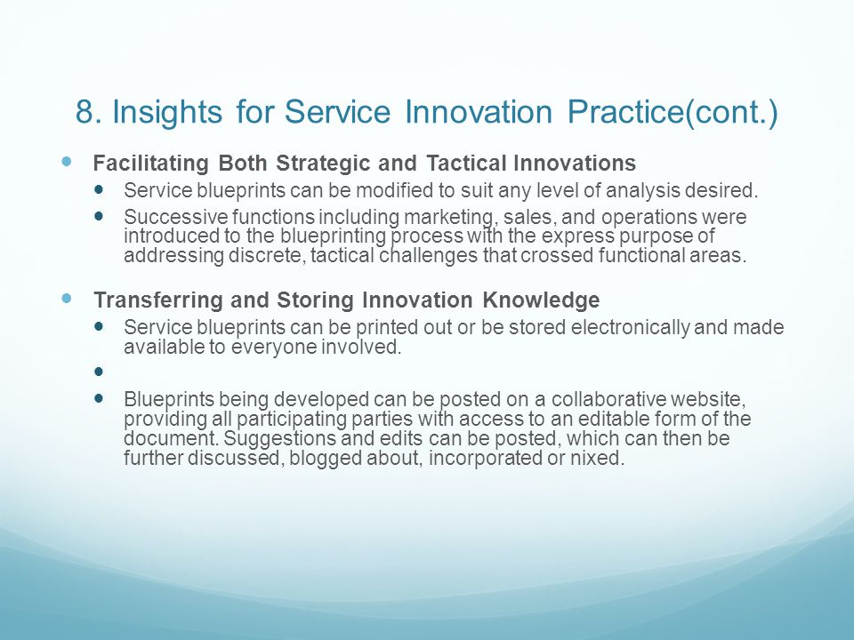 8. Insights for Service Innovation Practice(cont.)