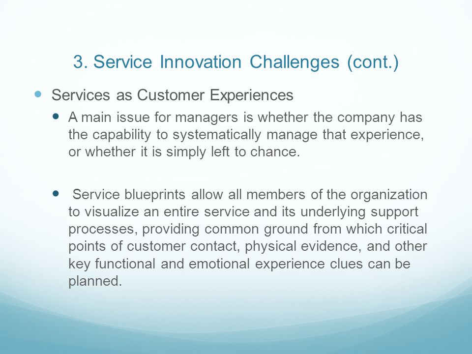 3. Service Innovation Challenges (cont.)