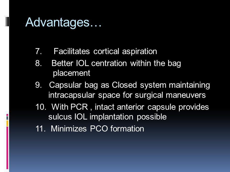 Advantages… 7. Facilitates cortical aspiration
