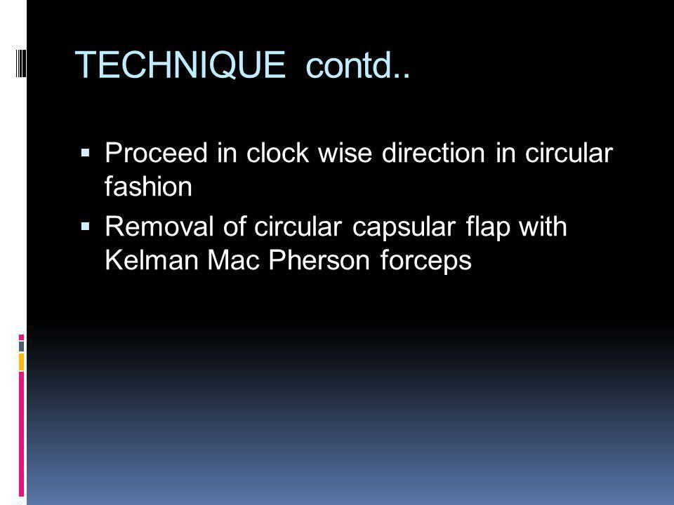 TECHNIQUE contd.. Proceed in clock wise direction in circular fashion
