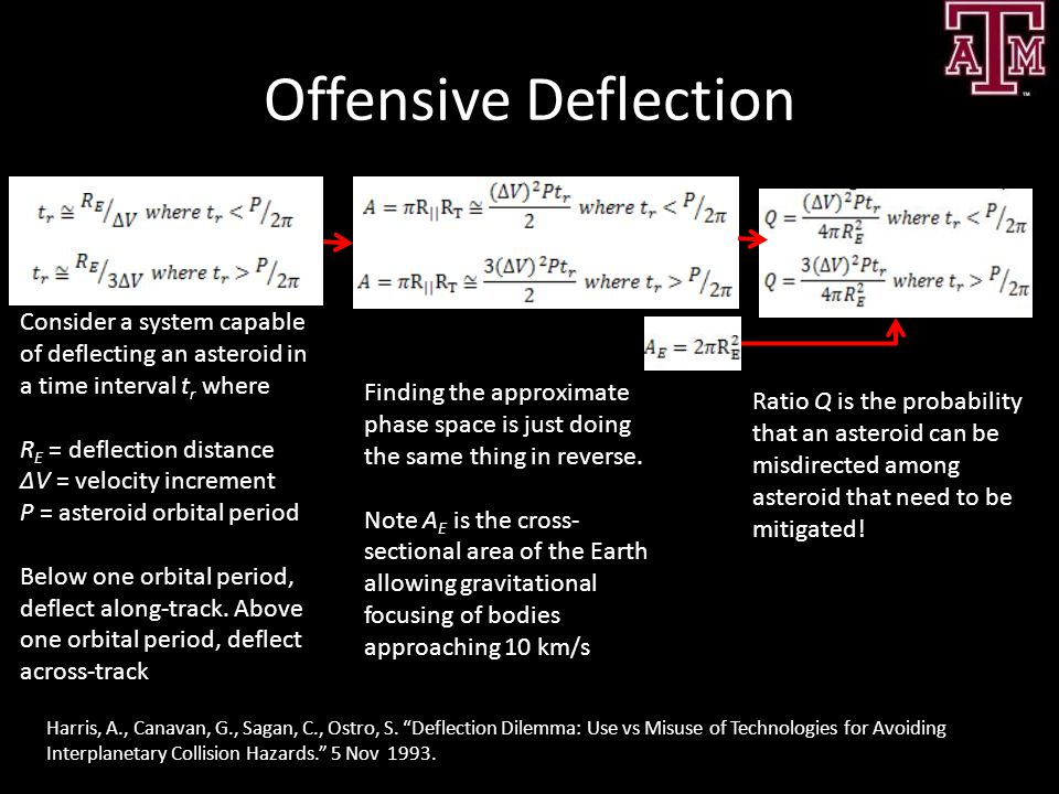 Offensive Deflection Consider a system capable of deflecting an asteroid in a time interval tr where.