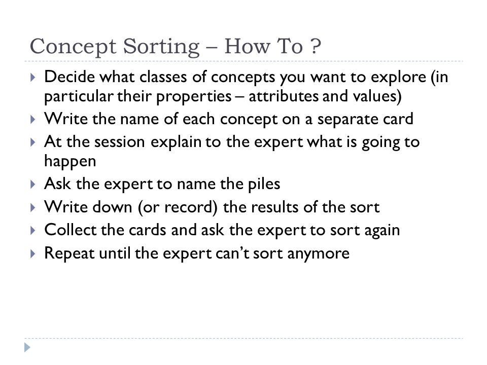 Concept Sorting – How To