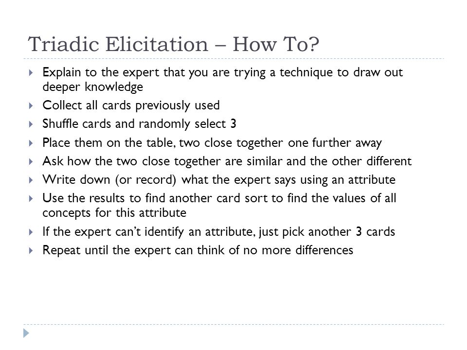 Triadic Elicitation – How To