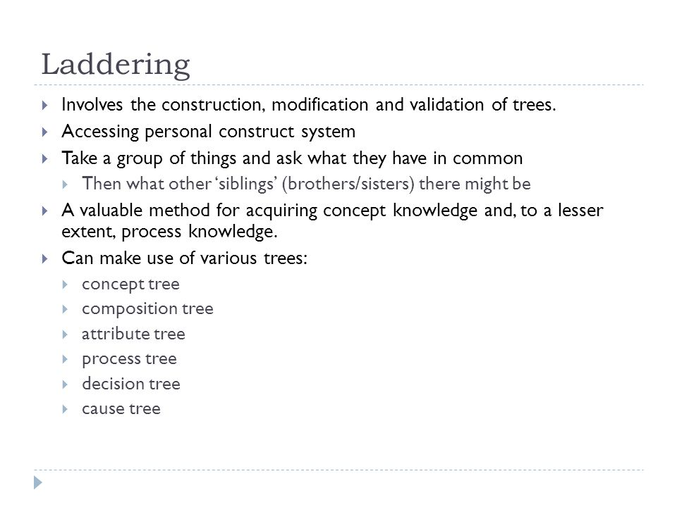 Laddering Involves the construction, modification and validation of trees. Accessing personal construct system.