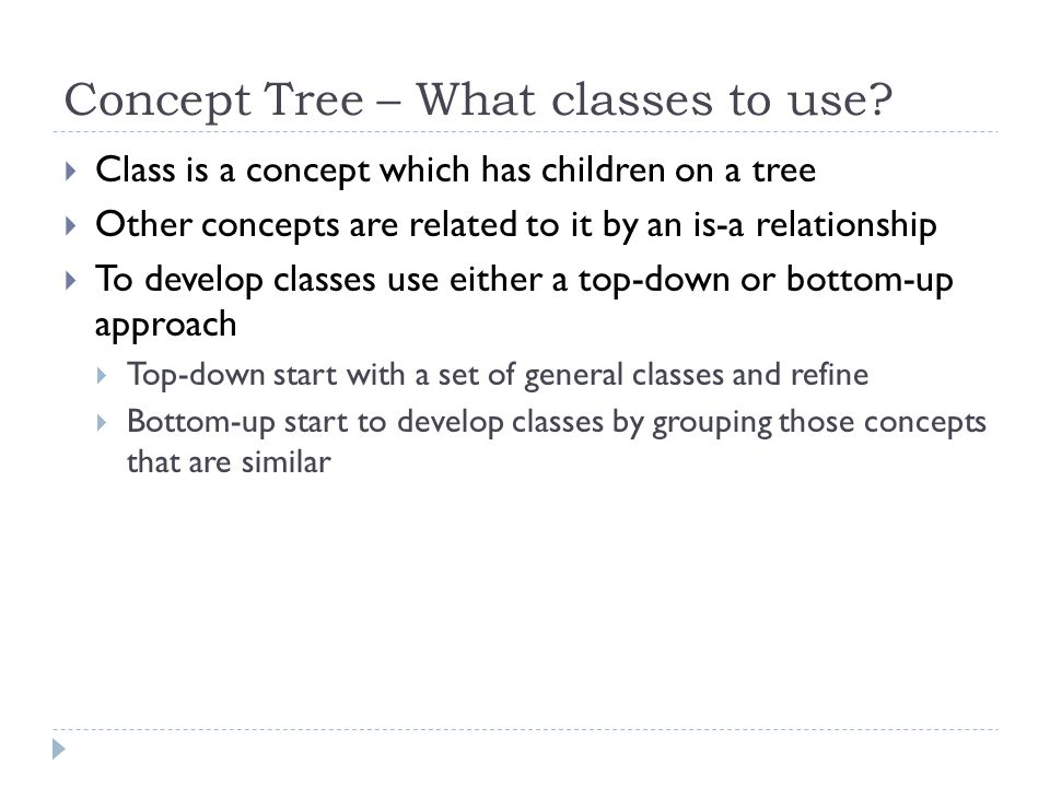 Concept Tree – What classes to use