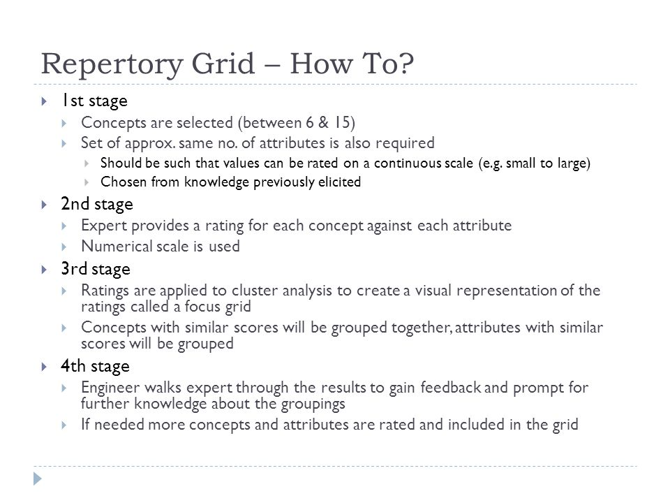 Repertory Grid – How To 1st stage 2nd stage 3rd stage 4th stage