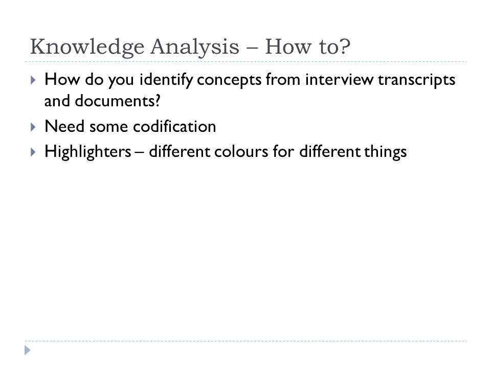 Knowledge Analysis – How to