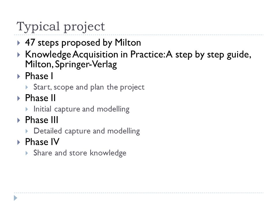 Typical project 47 steps proposed by Milton