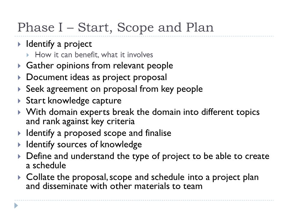 Phase I – Start, Scope and Plan