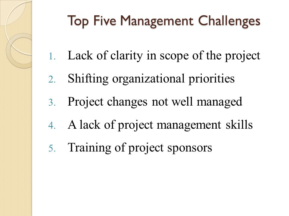 Top Five Management Challenges