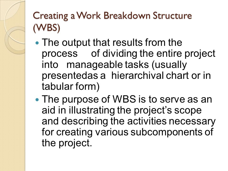 Creating a Work Breakdown Structure (WBS)