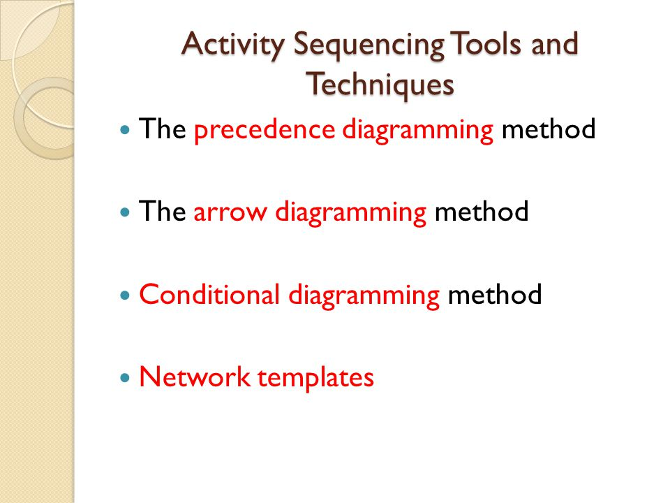 Activity Sequencing Tools and Techniques