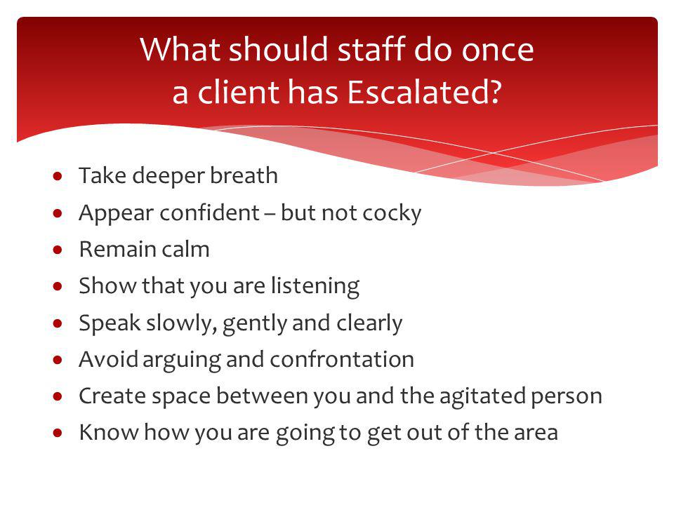 What should staff do once a client has Escalated