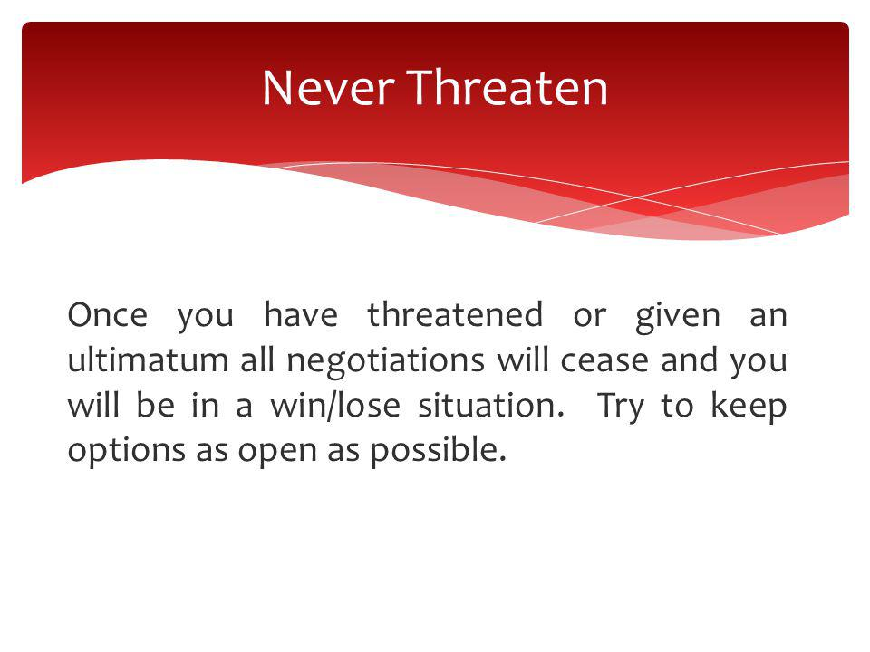 Never Threaten