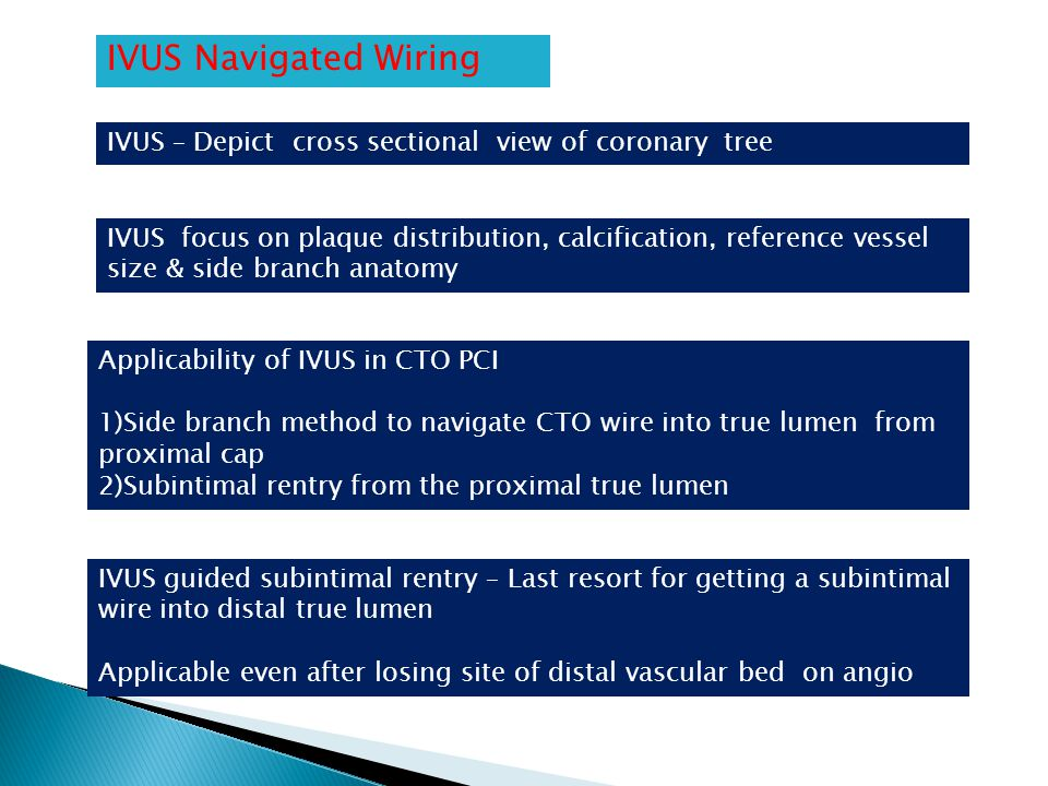 IVUS Navigated Wiring IVUS – Depict cross sectional view of coronary tree.
