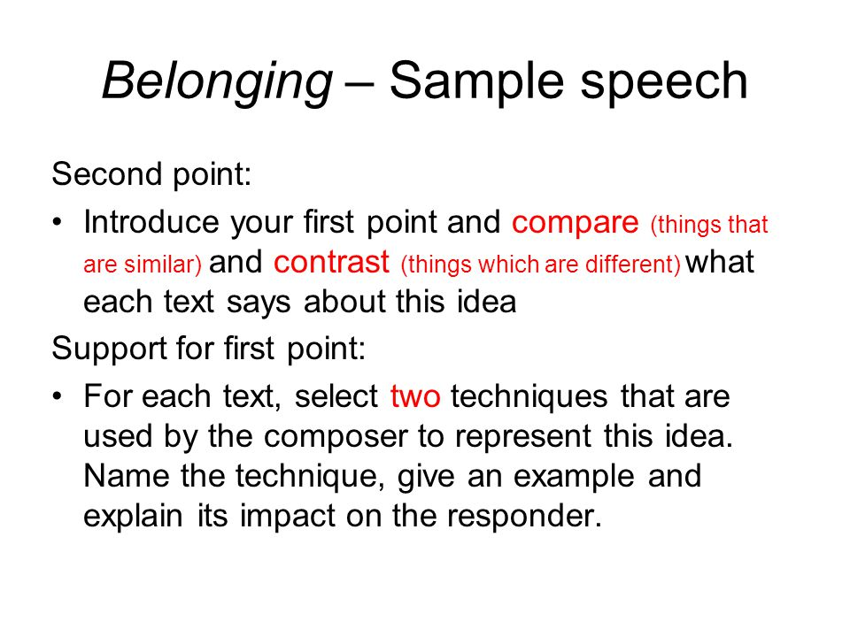 Belonging Speech Sample  Ppt Video Online Download