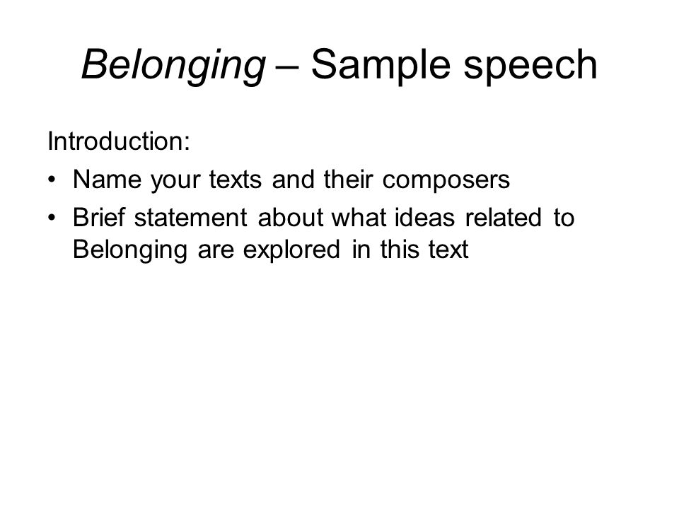 Belonging – Sample speech