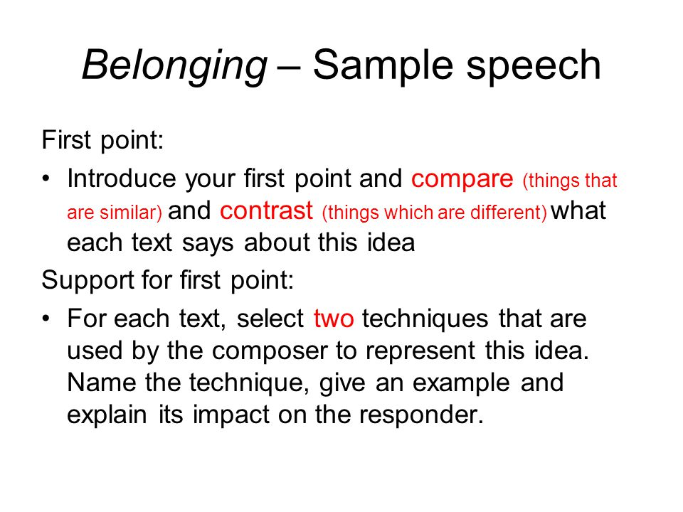 Belonging Speech Sample. - Ppt Video Online Download