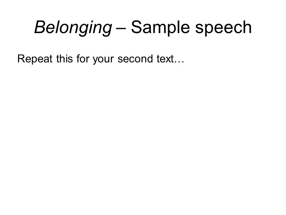 Belonging – Sample speech
