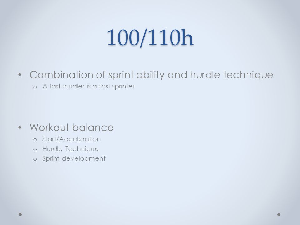 100/110h Combination of sprint ability and hurdle technique