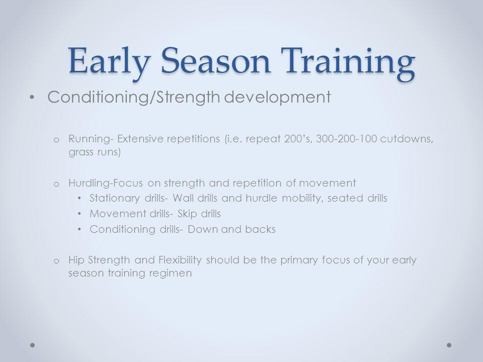 Early Season Training Conditioning/Strength development