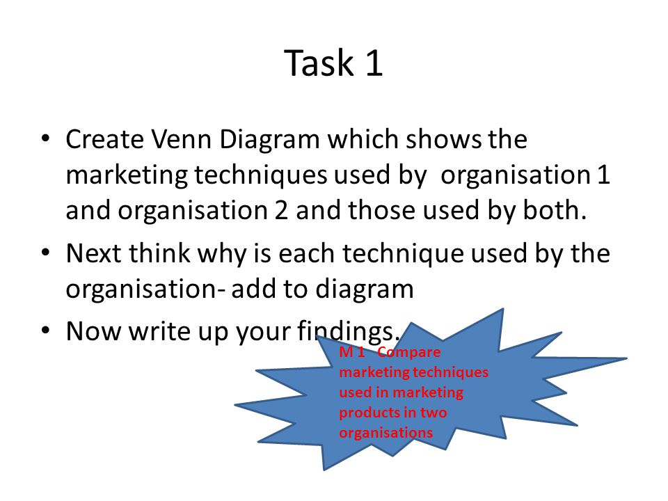 Task 1 Create Venn Diagram which shows the marketing techniques used by organisation 1 and organisation 2 and those used by both.