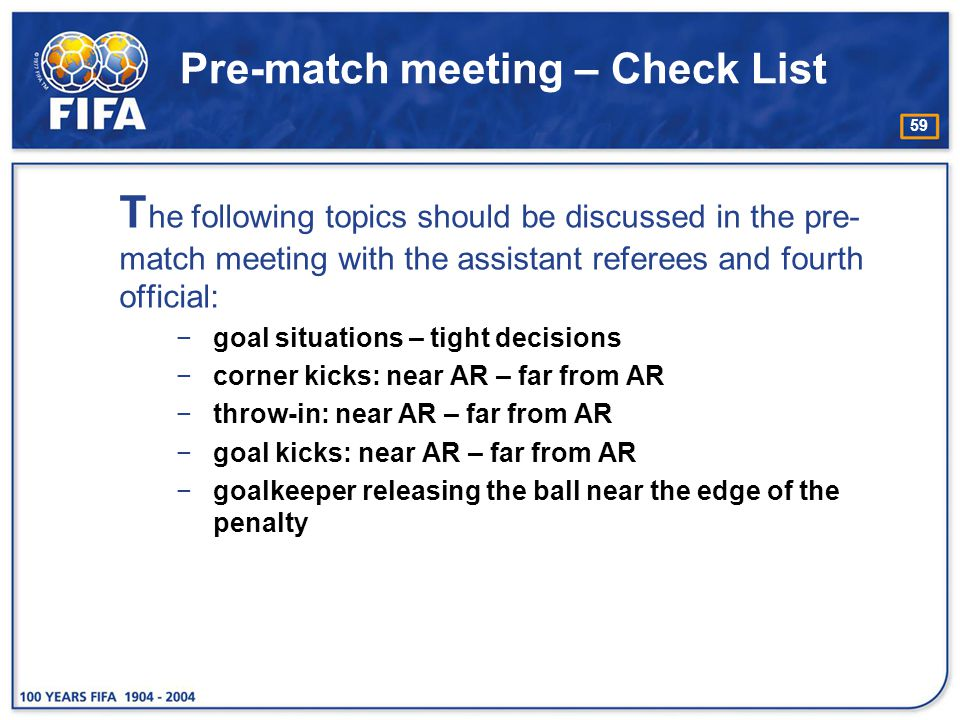 Pre-match meeting – Check List