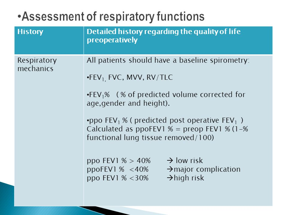 Assessment of respiratory functions